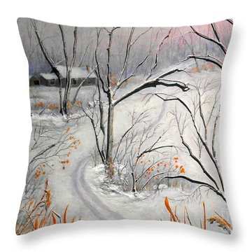 Ski Trail Throw Pillow
