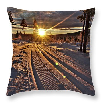 Ski Trails With Sun Beams Throw Pillow