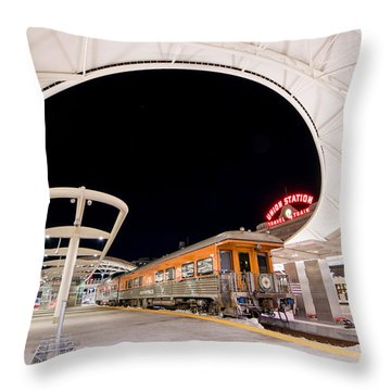 Ski Train Throw Pillow