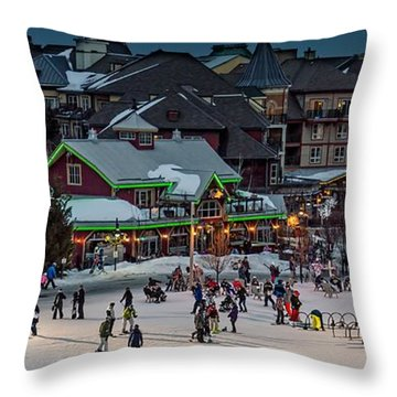 Skiing At The Village Throw Pillow