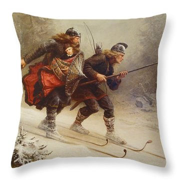 Skiing Birchlegs Crossing The Mountain With The Royal Child Throw Pillow