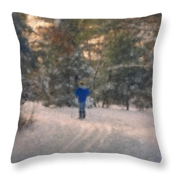 Skiing Borderland In Afternoon Light Throw Pillow