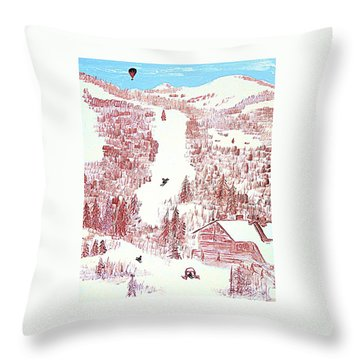 Skiing Deer Valley Utah Throw Pillow