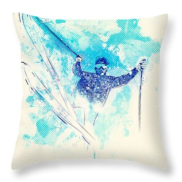 Skiing Down The Hill Throw Pillow