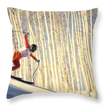 Skiing In Aspen, Colorado Throw Pillow