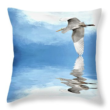 Skimming Throw Pillow by Cyndy Doty