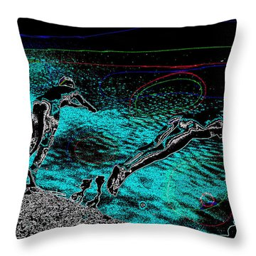 Throw Pillow featuring the mixed media Skinning Dipping by Charles Shoup
