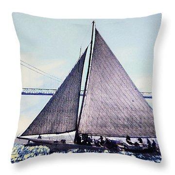 Skipjacks Racing Chesapeake Bay Maryland Contemporary Digital Art Work Throw Pillow