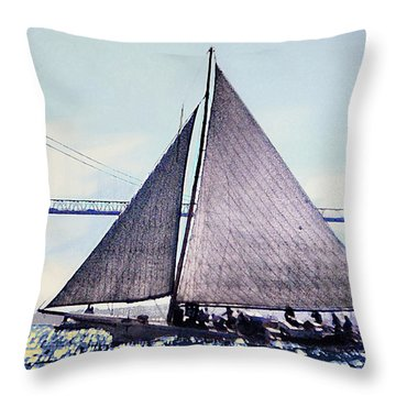 Skipjacks Racing Chesapeake Bay Maryland Contemporary Digital Art Work Throw Pillow