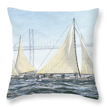 Skipjacks Racing Chesapeake Bay Maryland Detail Throw Pillow