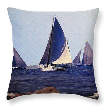Skipjacks Racing IIi Chesapeake Bay Maryland Contemporary Digital Art Work Throw Pillow