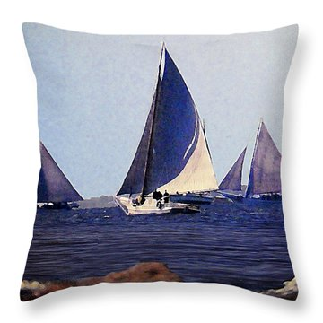 Skipjacks Racing IIi Chesapeake Bay Maryland Contemporary Digital Art Work Throw Pillow