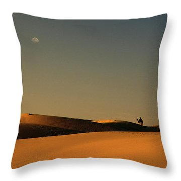 Skn 1117 Camel Ride At 6 Throw Pillow by Sunil Kapadia