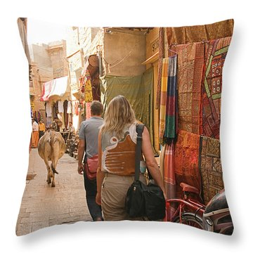 Skn 1226 The Squeezed Lane Throw Pillow by Sunil Kapadia