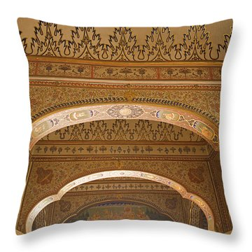 Skn 1248 The Miniature Art Throw Pillow by Sunil Kapadia