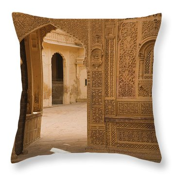 Skn 1317 Threshold Of Carvings Throw Pillow by Sunil Kapadia