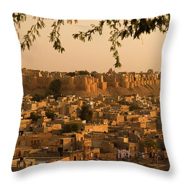 Skn 1334 The Golden City Throw Pillow by Sunil Kapadia