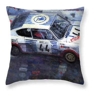 Skoda 130 Rs #44 Monte Carlo 1977 Throw Pillow by Yuriy Shevchuk