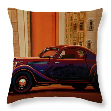 Skoda Popular Sport Monte Carlo 1935 Painting Throw Pillow