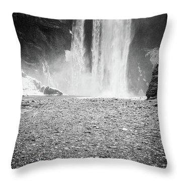 Skogafoss In Winter Throw Pillow