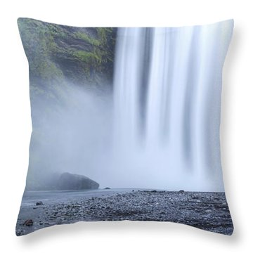 Skogafoss Mist Throw Pillow
