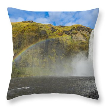 Skogafoss Rainbow Throw Pillow