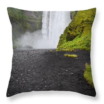 Skogafoss The Entrance To Fimmvorduhals Throw Pillow