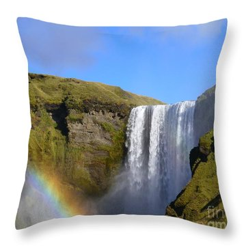 Skogafoss Waterfall With Rainbow 151 Throw Pillow
