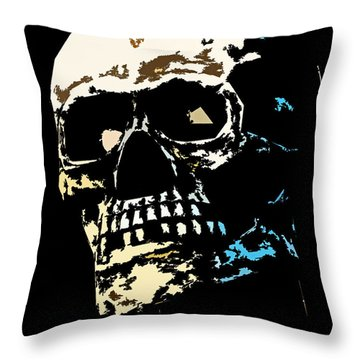 Skull Against A Dark Background Throw Pillow