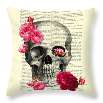 Skull And Pink Roses Throw Pillow