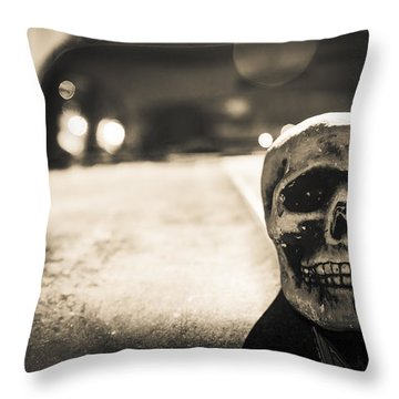 Skull Car Throw Pillow