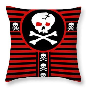 Skull Cross Throw Pillow by Roseanne Jones