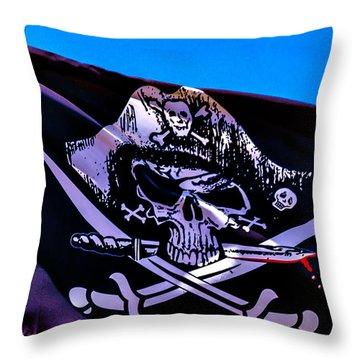 Skull Flag With Dagger Throw Pillow