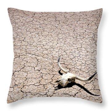 Skull In Desert Throw Pillow by Kelley King