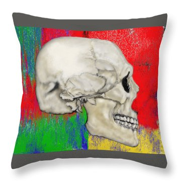 Skull In Primary Without Shape Throw Pillow