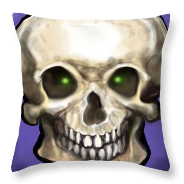 Skull Throw Pillow by Kevin Middleton