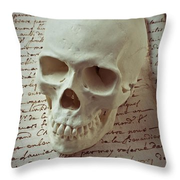 Skull On Old Letters Throw Pillow by Garry Gay