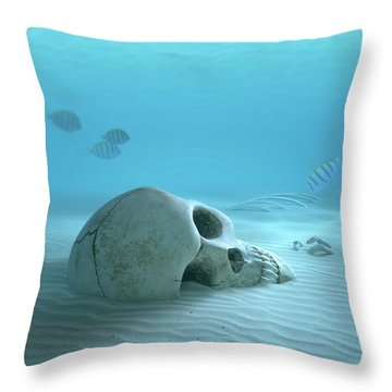 Skull On Sandy Ocean Bottom Throw Pillow