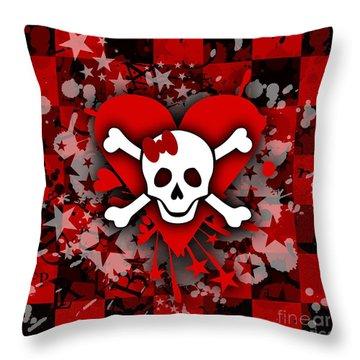 Skull Romance Throw Pillow by Roseanne Jones