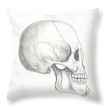 Skull Study Throw Pillow
