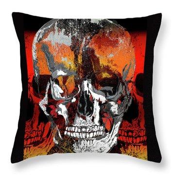 Skull Times Three Throw Pillow
