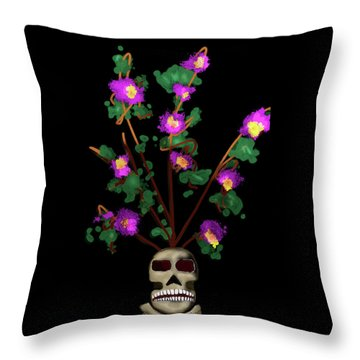 Skull Vase Throw Pillow
