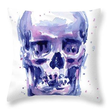 Skull Watercolor Throw Pillow