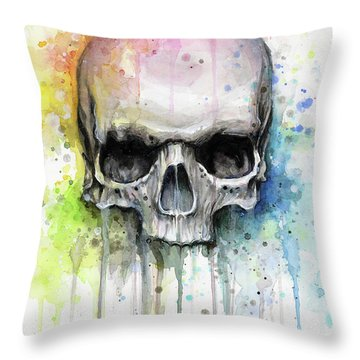Skull Watercolor Rainbow Throw Pillow