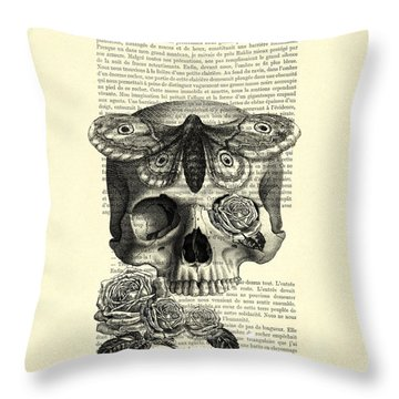 Skull With Hawkmoth Black And White Throw Pillow