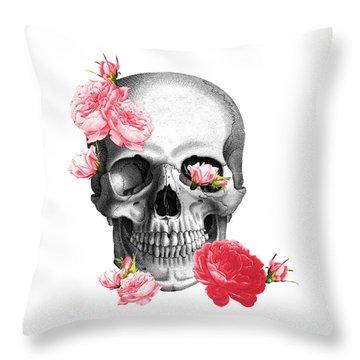 Skull With Pink Roses Framed Art Print Throw Pillow