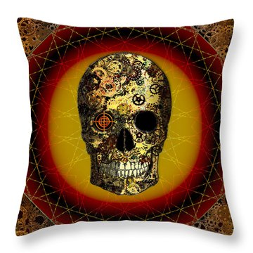 Throw Pillow featuring the digital art Skullgear by Iowan Stone-Flowers