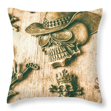 Skulls And Pieces Throw Pillow