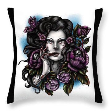 Skulls And Roses Throw Pillow