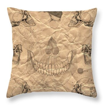 Skulls In Grunge Style Throw Pillow by Michal Boubin